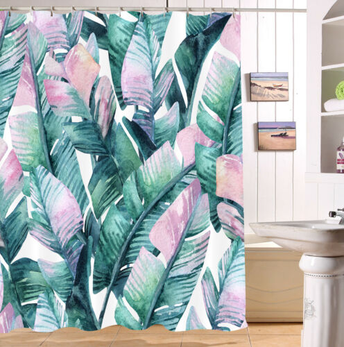 Watercolor Tropical Banana Leaves Shower Curtain Bathroom Mat Waterpoof Fabric
