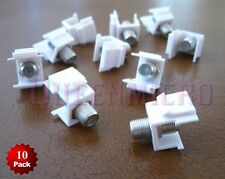 10 x F Insert Keystone Jack Wall Plate Cable SAT TV Coax Connector Adapter White