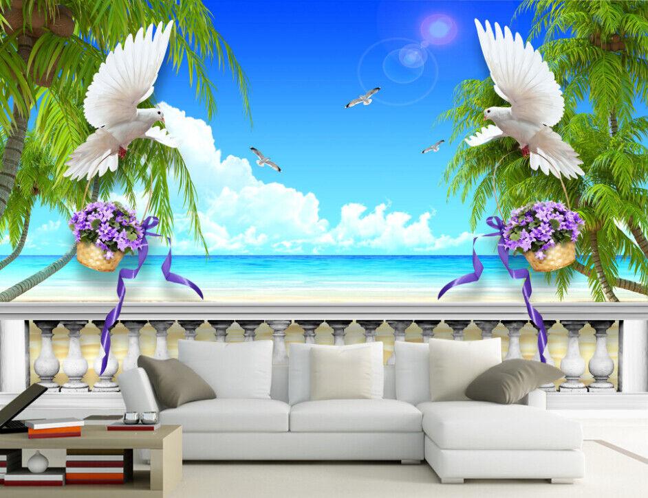 3D Beach Tree Birds 7 Wall Paper Murals Wall Print Wall Wallpaper Mural AU Lemon