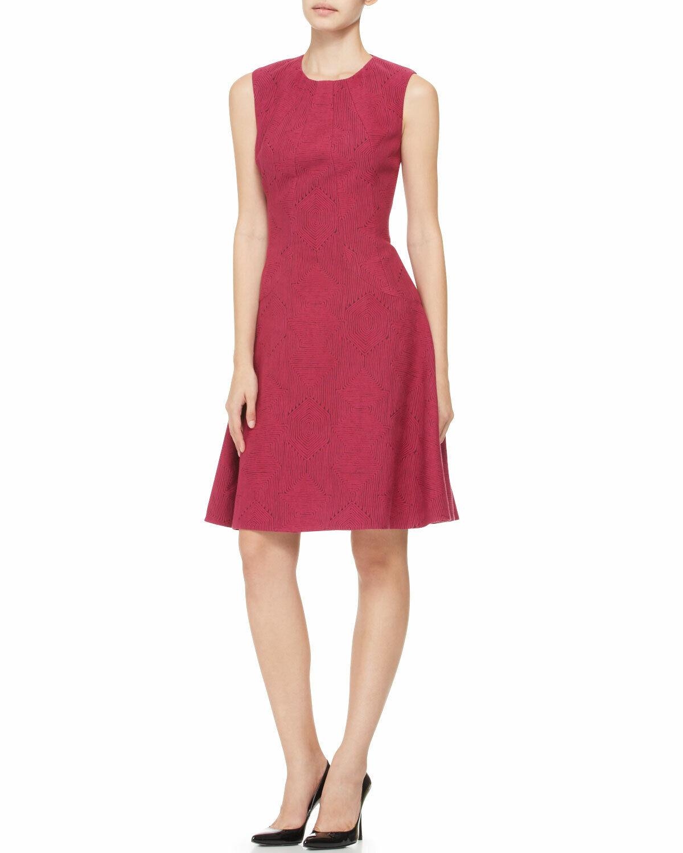 NEW LELA ROSE Printed Seamed Drop Waist GEOMETRIC DRESS SIZE 6 FUCHSIA PINK
