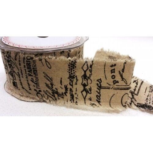 50mm Bertie/'s Bows Black Scroll Vintage Printed Burlap Hessian Craft Ribbon