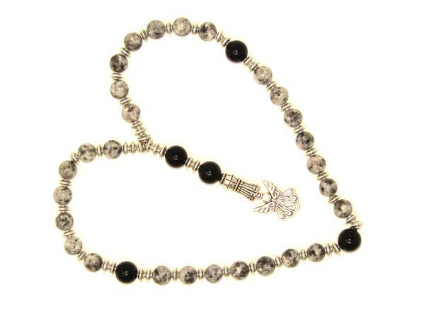 0054 - Anglican Prayer Beads, Rosary, Chaplet 8mm Brindle Stone Beads Handmade Menos Costoso