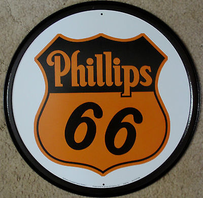 "Phillips 66 Oil Gas Metal Sign Tin New Vintage Style 11.75"" Diameter  USA #794"