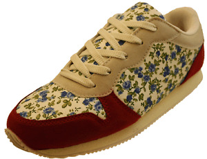 Ladies-Cheap-Sale-Red-Beige-Wide-or-Standard-Fit-Floral-Trainers-Size-4-5-6-7-8