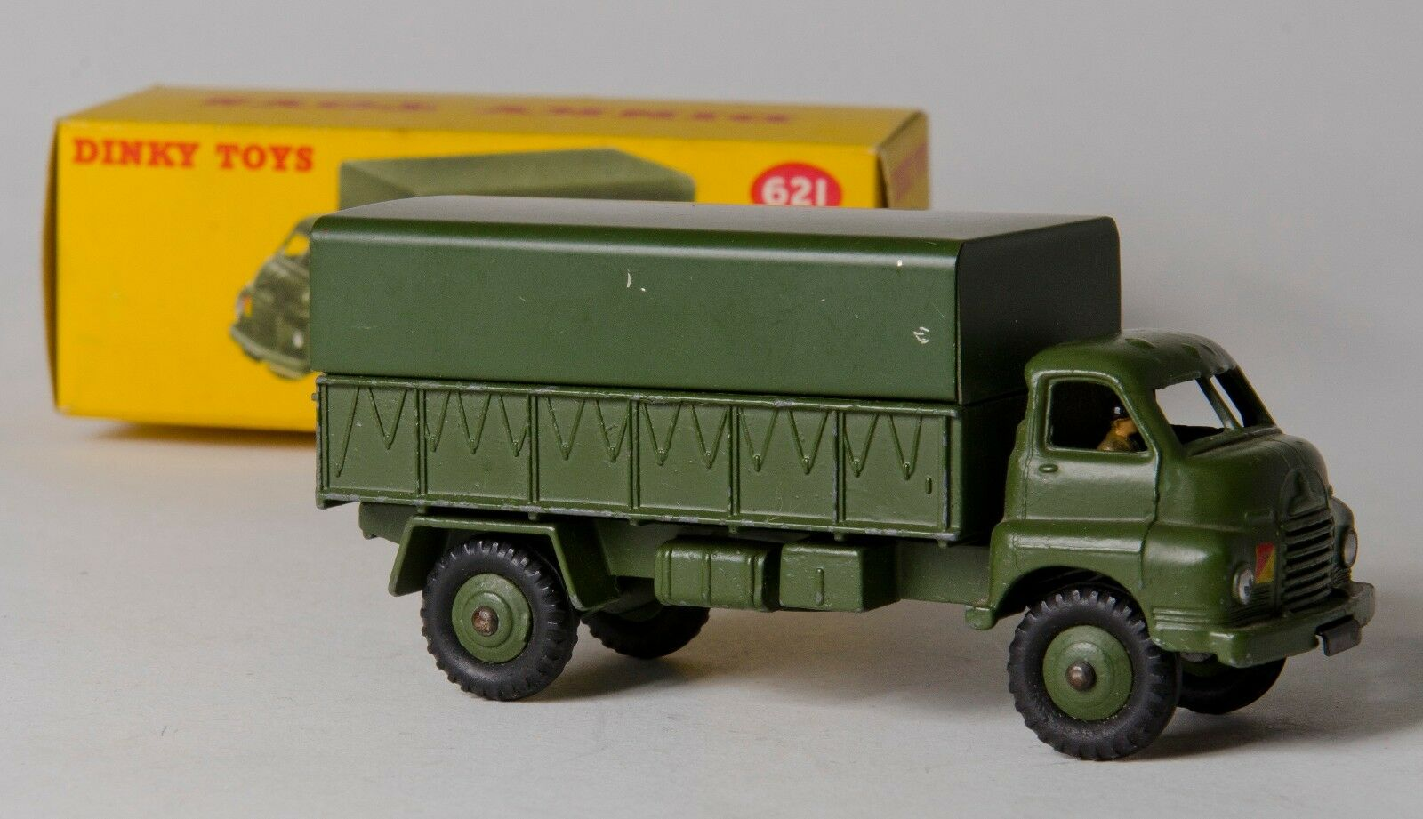 Dinky 621 3-Ton Bedford 'RL' Army Wagon with Tin Tilt. Boxed. Original 1950's