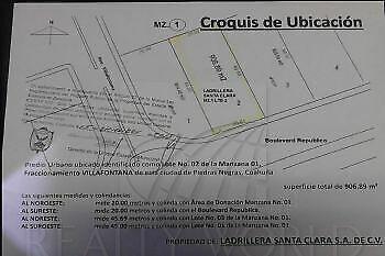 Terrenos Venta Piedras Negras Villa Fontana 01-TV-8874