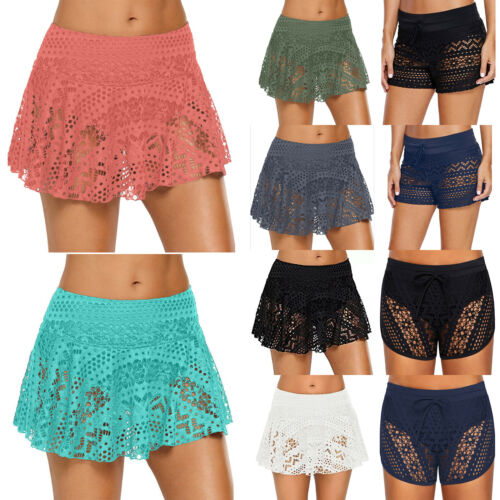 Womens Lace Shorts Swimwear High Waist Swim Skirt Bikini Bottoms Beach Beachwear
