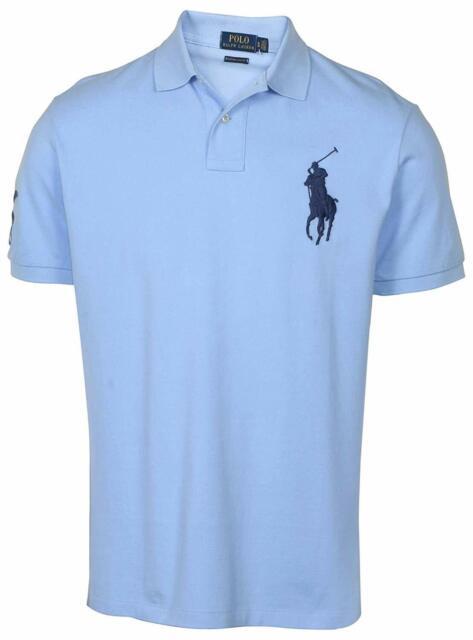 Polo Ralph Lauren Big Pony Golf Shirt Light Blue Men's Custom Slim Fit M