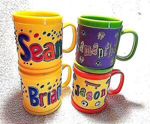 Personalised Childs 2 handle white drinks mug /& Baby Bib Pink or Blue trim