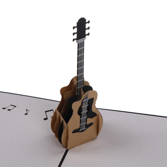 3D RETRO Guitar Pop Up Greeting Card Birthday Wedding Baby Shower Valentine、Pop