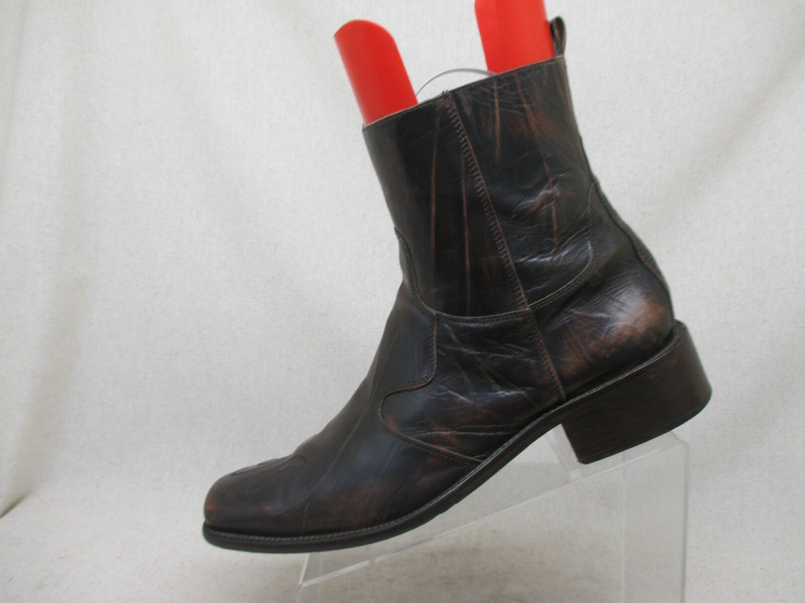 ALDO Distressed Brown Leather Square Toe Zip Ankle Boots Mens Size 45 EUR