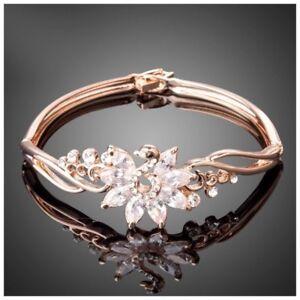 Details About S1 Made Using Swarovski Crystals The Shanta Rose Gold Swan Bracelet 96