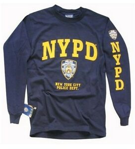 Nypd t shirt long sleeve new york city police department for T shirt screen printing nyc