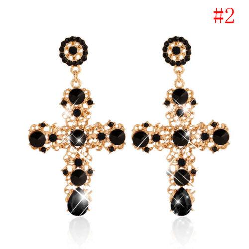 Kreuz Ohrhänger Ohrringe Kristall Strass Antik Gold-Vergoldet