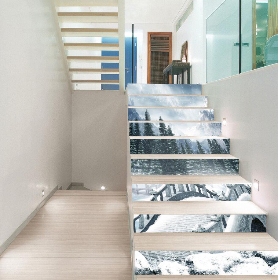 3D Snowing Bridge 2 Stair Risers Decoration Photo Mural Vinyl Decal WandPapier UK