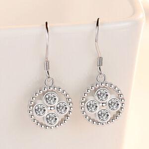 925-Sterling-Silver-Crystal-Round-Shape-Dangle-Ear-Hook-Earrings-Women-Jewelry