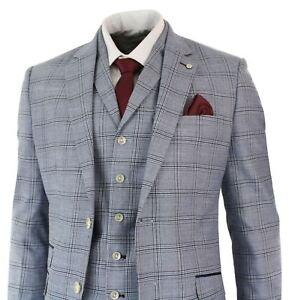 costume 3 pi ces homme bleu gris carreaux coupe ajust e style r tro vintage ebay. Black Bedroom Furniture Sets. Home Design Ideas