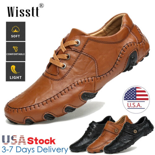Men/'s Hand Stitching Leather Casual Shoes Antiskid Breathable Loafers Moccasins
