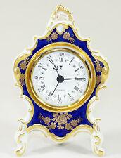 Dresda-orologio stupendo orologio da tavolo porzellanuhr Kaminuhr su piedi-BLU COBALTO ORO