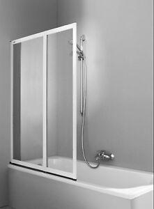 Details zu Hüppe Duschwand Badewanne * Faltwand Combinett 2 * Kunstglas 2  teilig * silber