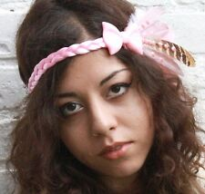 PINK BOW KAWAII FEATHER HEAD DRESS BAND FESTIVAL BRIDAL FAIRY COSPLAY DECODEN