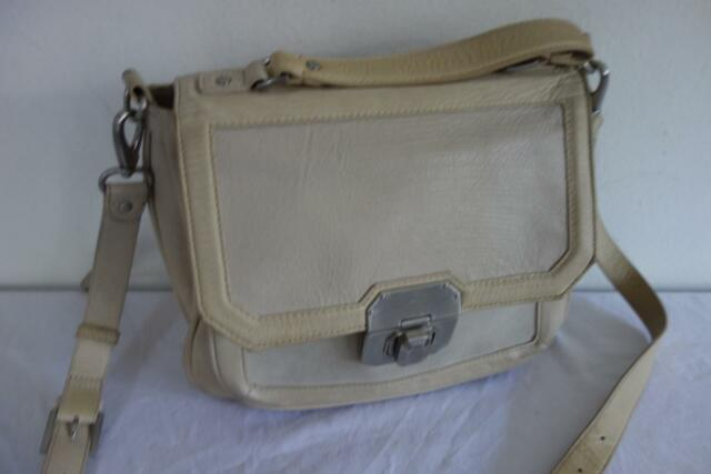 ** Mimco Cream Leather Expanding Handbag Shoulder or Crossbody Satchel Bag