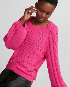 46f75752c00a NEW EXPRESS  79 HOT PINK CABLE KNIT CHENILLE BALLOON SLEEVE SWEATER ...