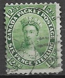 Canada 1859 12,5c green Queen Victoria Scott 18 nice stamp see scans