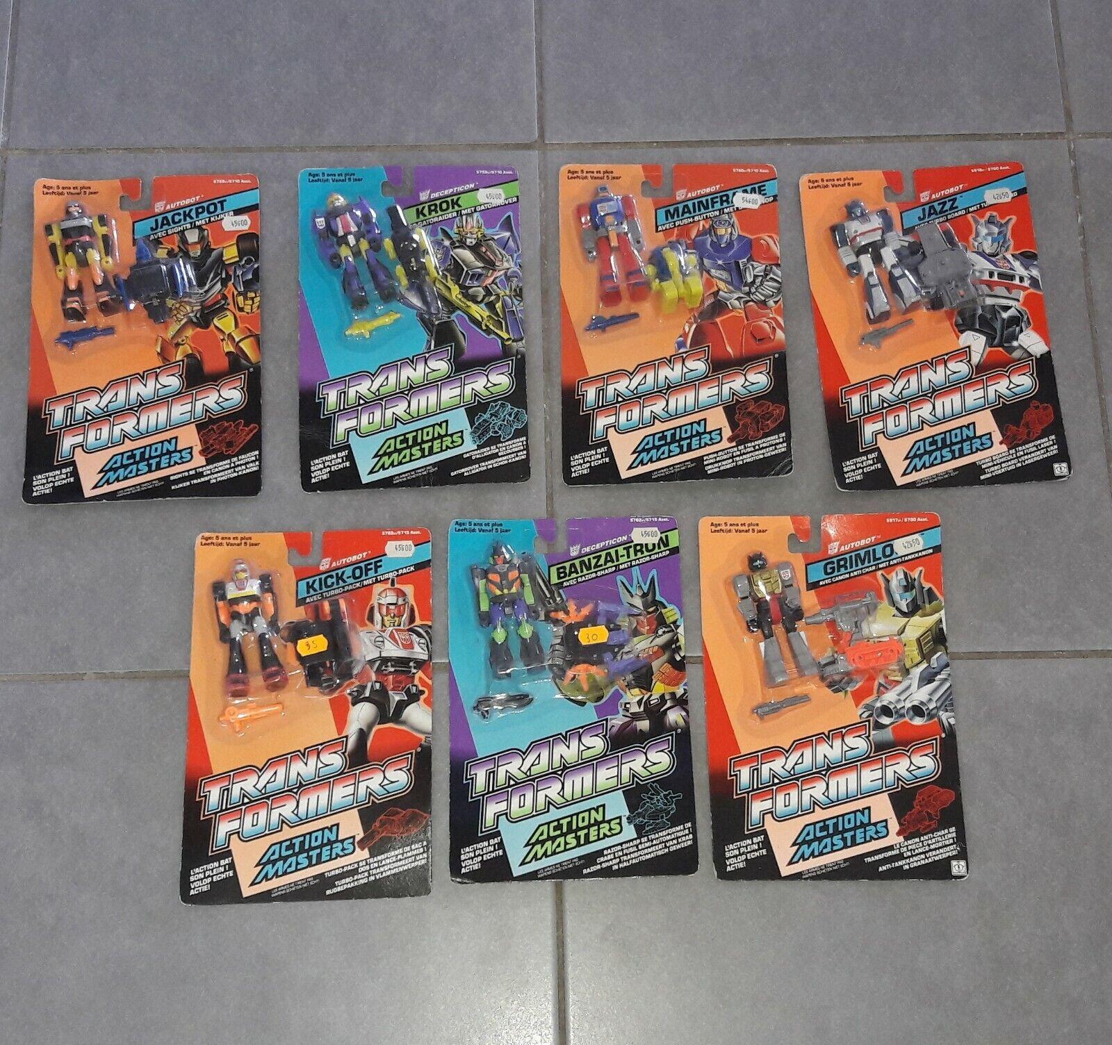 Lot 7 figurines TRANSFORMERS azione Masters  HASBRO  1989  Neufs MOC nuovo