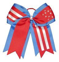 patriotic Bling Cheer Bow Pony Tail 3 Inch Ribbon Girls Cheerleading