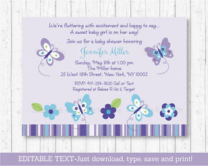 Details About Purple Butterflies Printable Baby Shower Invitation Editable Pdf