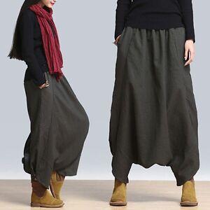 e2300742d4a Casual Leisure Maxi Plus Size Linen Women Ladies Harem Pants Skirt ...