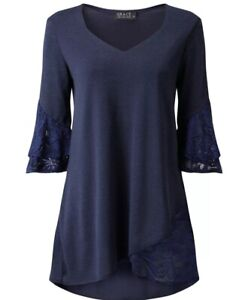 Ladies-blouse-Grace-at-Evans-Navy-Blue-Tulip-Tunic-Long-Top-Lace-UK-12-8-BNWT