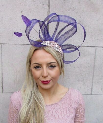 Purple Rose Gold Silver Sinamay Feather Fascinator Headband Races Hair Band 4513
