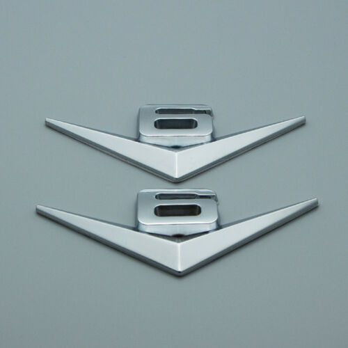 2x Chrome V6 Turbo Engine Metal Side Wing Badge Rear Trunk Sport Emblem Sticker