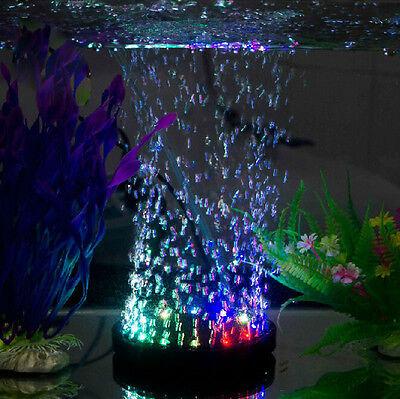 Aquarium Fish Tank Air Curtain Bubble Stone Disk with 12 Multi-color LED Light