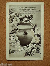 Vintage Postcard: Birthday Wishes, Brother, Flowers, Ship on the Sea Sence