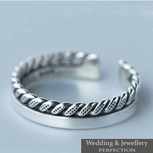 925-Sterling-Silver-Ring-Band-Knuckle-Thumb-Finger-Toe-Fully-Adjustable-Jewelry