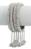 4 Pcs Ethnic White Stone Hanging Balls Bangles Set Beautiful Fashion Jewelry