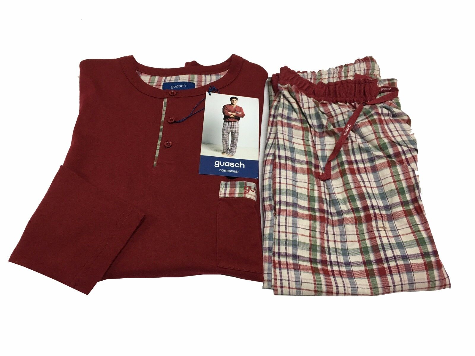 74802e7a268819 Herren Pyjamas Hose Flanell Stoff Bordeaux 100% Baumwolle Guasch Kader  npzieb972-neue Kleidung