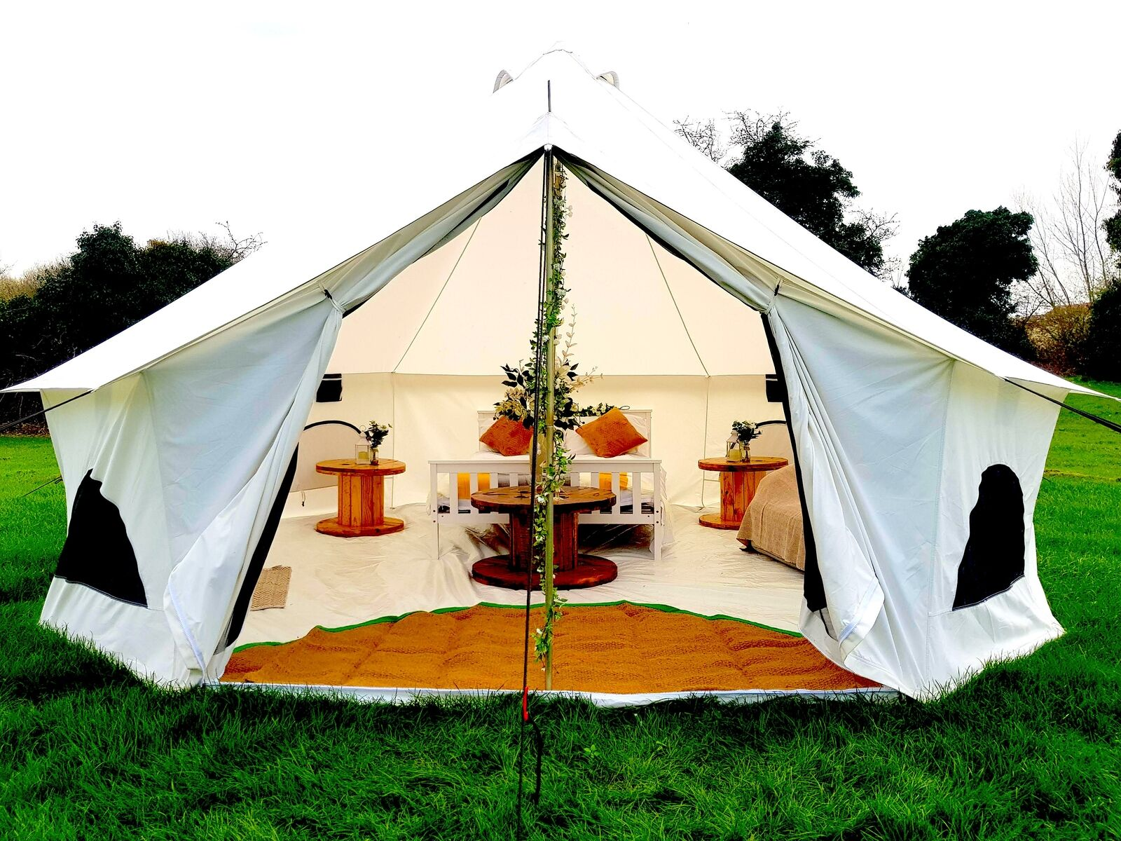 NEW XL Fire Retardant Cotton Canvas Bell Tent + Stove Hole By Bell Tent Village