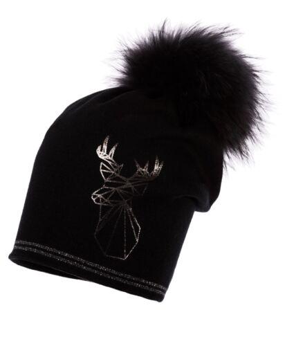 Jamiks Mädchen Damen Elegante Wintermütze Bommelmütze Echtfell Schwarz
