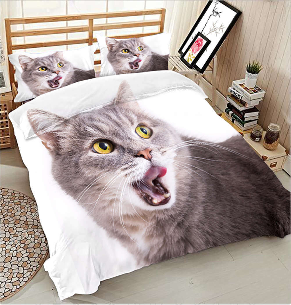 Endearing Cat 3D Printing Duvet Quilt Doona Covers Pillow Case Bedding Sets