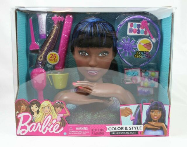 Barbie Color Style African American Deluxe Styling Head Curly Hair 25 Pieces
