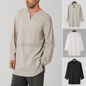 Mens V-Neck Kurta Shirts Long Sleeve Loose Baggy Casual Plain Top Tee Blouse New