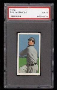 Rare 1909-11 T206 Bill Lattimore Piedmont 350 Toledo PSA 5 EX