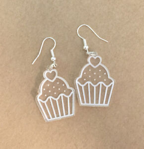 Cupcake-Earrings-Laser-Engraved-Clear-Acrylic-Laser-Cut-Sweet-Gift-Ideas