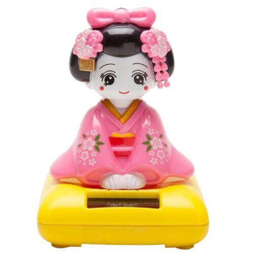 Pink O8I4 Japanese Kimono Maiko Geisha Solar Powered Bobblehead Toy Figure
