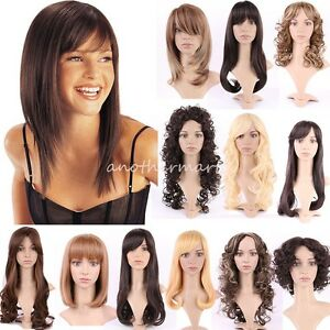 Real Soft Womens Full Head Wigs Natural Curly Wavy Hair Wig Side ... bed3386284