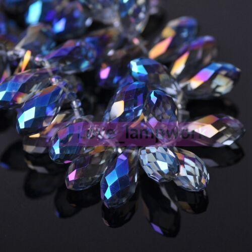 À faire soi-même 20pcs 20X10mm Larme Facette Verre Cristal Pendentif Loose Spacer Beads Lot